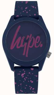Hype | damska granatowa, fioletowa farba pasek silikonowy | granatowa / fioletowa tarcza HYL001UP