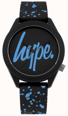 Hype | męski czarny i niebieski pasek silikonowy | czarna / niebieska tarcza | HYG003BU