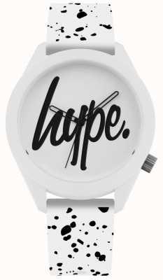 Hype | pasek silikonowy z białym i czarnym nadrukiem | biała tarcza | HYG003W