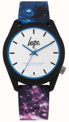 Hype | niebieski i fioletowy galaktyk drukowanych galaktyk | biała tarcza | HYU009BV