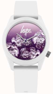 Hype | biały pasek silikonowy | fioletowy kwiat wybierania | HYU010WV