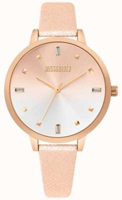 Missguided | damski zegarek ze skóry z różowego złota | dwie tony wybierania | MG020RG