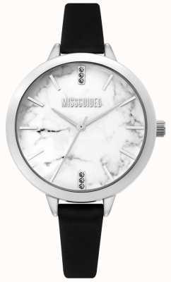 Missguided | damski czarny skórzany zegarek | biała marmurowa tarcza | MG011BS
