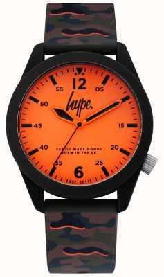 Hype | męski pasek silikonowy z kamuflażu | pomarańczowy wybieg | HYG019NO