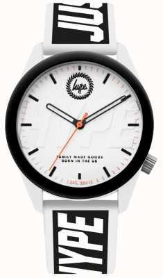 Hype | męski zegarek | biały i czarny pasek silikonowy | HYU018BW