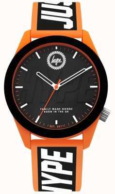 Hype | męski zegarek | pomarańczowy i czarny pasek silikonowy | HYG018BO