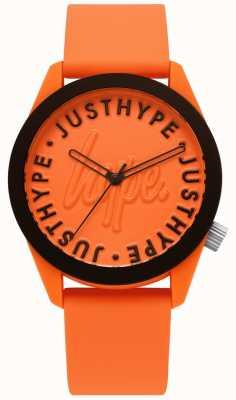 Hype | męski zegarek | pomarańczowy pasek silikonowy | pomarańczowy wybieg | HYU023O