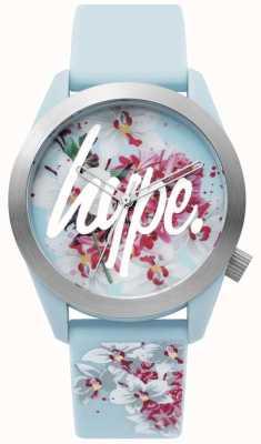 Hype | panie oglądać | niebieski pasek silikonowy | kwiatowy wybieg | HYL022US