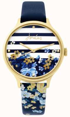 Joules | zegarek damski | granatowy pasek w kwiatowy wzór | JSL015UG