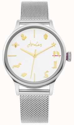 Joules | panie oglądać | srebrny pasek z siatki | biała tarcza | JSL011SM
