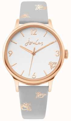 Joules | damskie różowe złoto | szara, skórzana opaska na trzmiel | JSL016ERG