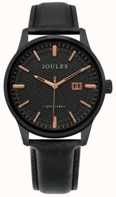 Joules | zegarek męski marfield | czarny skórzany pasek | czarna tarcza | JSG009NB