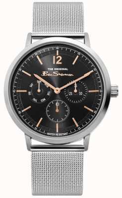 Ben Sherman | męski zegarek z srebrnej siatki | czarna tarcza | BS011ESM