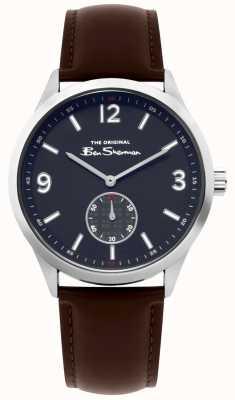 Ben Sherman Męski, brązowy skórzany skryptowy zegarek | BS020BR