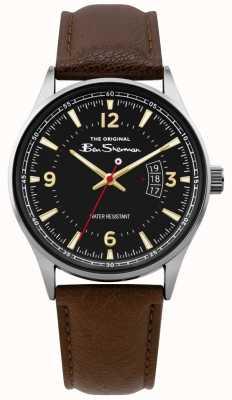 Ben Sherman | mężczyzna brązowy skórzany skrypt zegarek | czarna tarcza | BS008BR