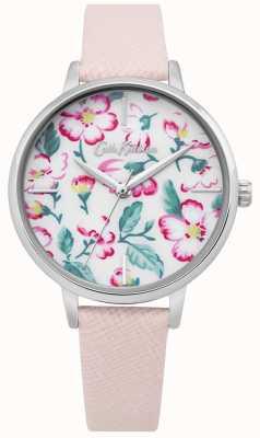 Cath Kidston | damski zegarek z kwiatkiem wspinaczkowym | różowa skóra | kwiatowy wybierania CKL069P