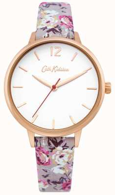 Cath Kidston | damski zegarek ogrodowy | biała tarcza | kwiatowy skórzany pasek | CKL067ERG