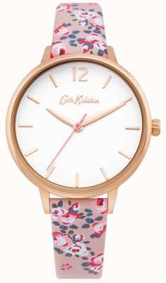 Cath Kidston | damski zegarek na hampton | skórzany pasek kwiatowy | biała tarcza | CKL067PRG