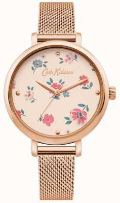 Cath Kidston | kobiet brampton ditsy watch | bransoletka z różowego złota z siatki | CKL079RGM
