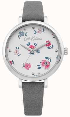 Cath Kidston | kobiet brampton ditsy watch | szary skórzany pasek | CKL079E