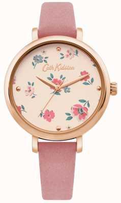Cath Kidston | kobiet brampton ditsy watch | różowy skórzany pasek | CKL079PRG