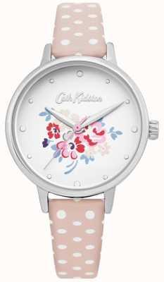 Cath Kidston | damski zegarek z perełkami polka dot pink leather | CKL070P