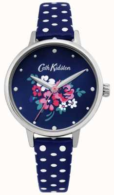 Cath Kidston | damski zegarek z perełkami polka dot niebieska skóra | CKL070U