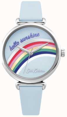 Cath Kidston | tęczowy zegarek damski | niebieski skórzany pasek | Tęczowa tarcza | CKL081U