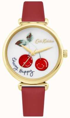 Cath Kidston | kobiet szczęśliwy zegarek wiśni czerwony skórzany pasek | biała tarcza CKL081RG