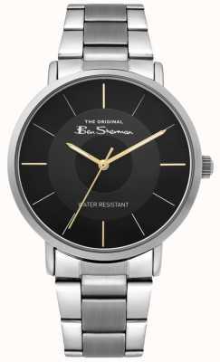 Ben Sherman | zegarek z pismem męskim | bransoleta ze stali nierdzewnej | czarna tarcza BS014BSM
