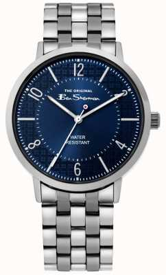 Ben Sherman | zegarek z pismem męskim | bransoleta ze stali nierdzewnej | niebieska tarcza BS018USM