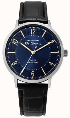 Ben Sherman | zegarek z pismem męskim | czarny skórzany pasek | niebieska tarcza | BS018B