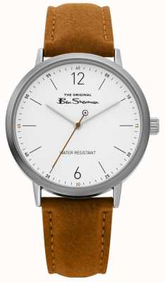 Ben Sherman | zegarek z pismem męskim | brązowy pasek | biała tarcza | BS019T
