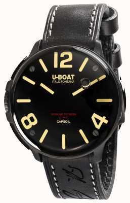 U-Boat Czarny skórzany pasek Capsoil DLC Electromechanics 8108/A