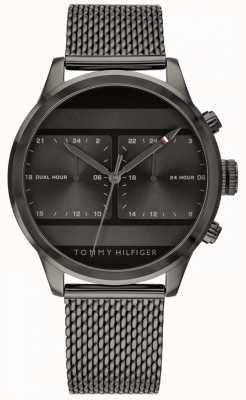 Tommy Hilfiger | czarny zegarek z czarnej siatki czarna tarcza | 1791597