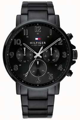 Tommy Hilfiger | czarny daniel męski zegarek ip wykończenie | 1710383
