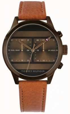 Tommy Hilfiger | brązowy skórzany męski zegarek | 1791594
