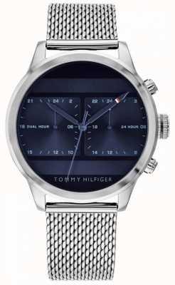 Tommy Hilfiger | męski zegarek z siatki ze stali nierdzewnej | niebieska tarcza | 1791596