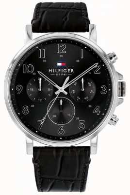 Tommy Hilfiger | czarny skórzany zegarek męski Daniel 1710381