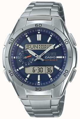 Casio | sterowane radiowo męskie | zegarek z chronografem tytanowym | WVA-M650TD-2A2ER