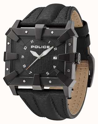 Police Męski czarny skórzany pasek z czarną tarczą PL.93404AEU/02A