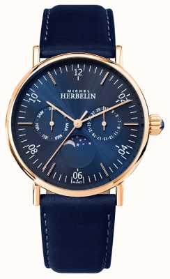 Michel Herbelin Męski montre inspiration moonphase niebieski pasek niebieski 12747/PR15BL