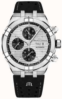 Maurice Lacroix Aikon automatyczny czarny pasek z czarnym pandą i chronografem AI6038-SS001-132-1