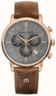 Maurice Lacroix Brązowy skórzany pasek z chronografem Eliros EL1098-PVP01-210-1