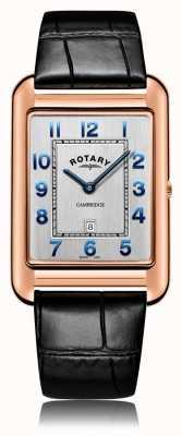 Rotary | męski czarny skórzany pasek | koperta z różowego złota | GS05284/70