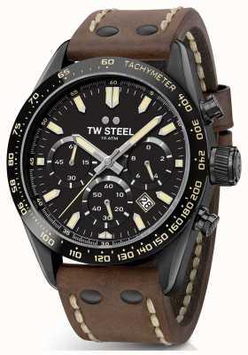 TW Steel | skórzany pasek z brązu czarny chronograf CHS1