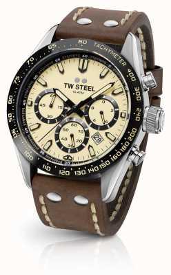 TW Steel | męski brązowy skórzany pasek | kremowy chronograf | CHS2
