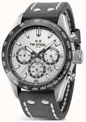 TW Steel | skórzany pasek w kolorze ciemnoszarym dla mężczyzn srebrna tarcza | CHS3