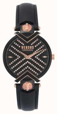 Versus Versace | czarny skórzany pasek damski | tarcza z deseniem | VSPLH1519