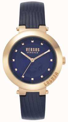 Versus Versace | damski niebieski skórzany pasek | koperta z różowego złota | VSPLJ0419